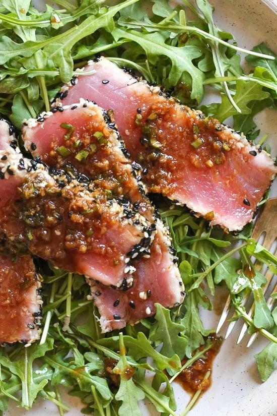Sesame Crusted Tuna Steak on Arugula