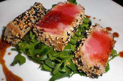 Sesame crusted tuna steak on arugula skinnytaste for What is sushi grade fish
