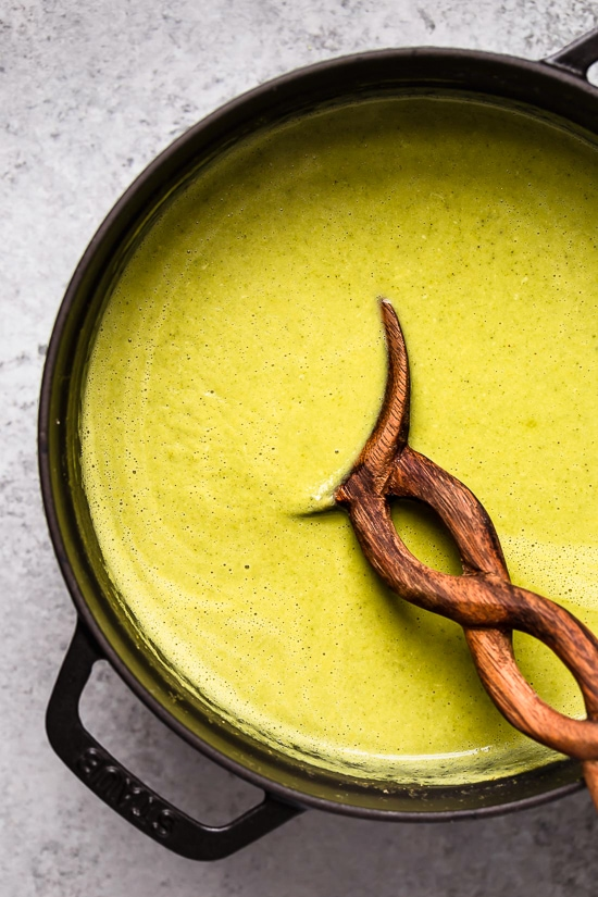 To make creamed soups without cream, use the vegetables to thicken it and puree.