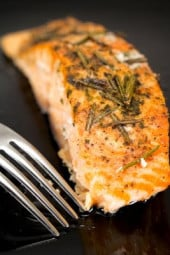 Juicy salmon with rosemary, lemon and garlic, takes minutes to prepare which is always perfect for busy weeknights.