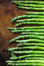 This quick and easy recipe for oven roasted asparagus is the perfect spring side dish. This basic recipe can be seasoned many different ways; add lemon juice, garlic or shaved parmesan for variations.