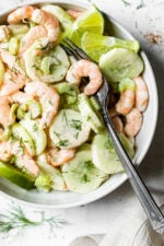 This Creamy Shrimp and Celery Salad is seasoned with Old Bay and lime juice and mixed in a light creamy sauce.