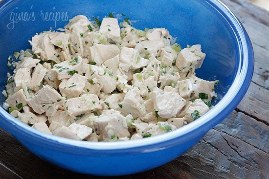 This lightened Classic chicken salad made from scratch uses far less mayonnaise that most recipes call for. It comes out tender and delicious, perfect on a bagel, served over lettuce or in a wrap.