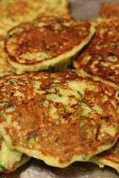 Zucchini season is here, if you are looking for a great recipe to use up your summer zucchini, give these fritters a try. Similar to potato pancakes, with less carbs, they are a perfect side dish with grilled chicken or meat.