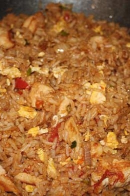 Thai fried rice gets it's unique flavor from the fish sauce, soy sauce and chili peppers. The jasmine rice is a must!