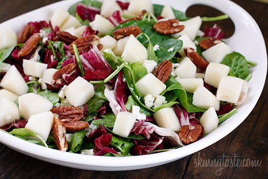 Sweet Autumn pears, honey Dijon dressing, crunchy pecans, and gorgonzola cheese. I love a good salad with lots of texture and flavors, this salad is a healthy addition to your Fall table. Simple and elegant, apples can be substituted for pears if you wish.