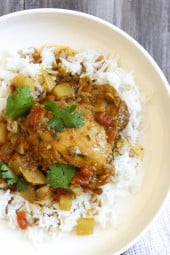 This easy Chicken Curry dish with potatoes, garam masala, cumin and curry spices are simmered with coconut milk to give this dish an aromatic flavor newbie and seasoned curry lovers with go nuts over. Great over basmati rice for a complete meal (also great with naan or cauliflower rice to keep the carbs low or Whole30 compliant).