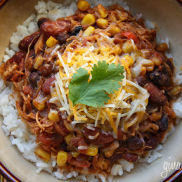This chicken taco chili is one of my most popular recipes! The perfect slow cooker dish because you just dump all the ingredients in, turn it on and come back to the best tasting meal! No prep, super easy, freezes well and the kids love it!