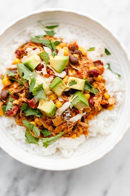 Crock Pot Chicken Taco Chili is an easy slow cooker dump recipe using freezer and pantry staples!