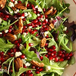 A simple yet elegant salad, perfect to serve as a first course for the Holidays. Pomegranates are loaded with vitamins, antioxidants, potassium, folic acid and iron. They are juicy with a slight pop when you bite into them.