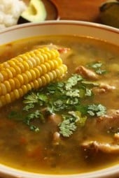 Sancocho is a hearty soup, almost like a stew and is a traditional dish in the region of Antioquia, Colombia that combines potatoes, yuca, corn, plantains and meat. For me and my family this is the ultimate comfort food and is absolutely delicious.