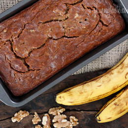 Insanely moist banana nut bread without all the fat!