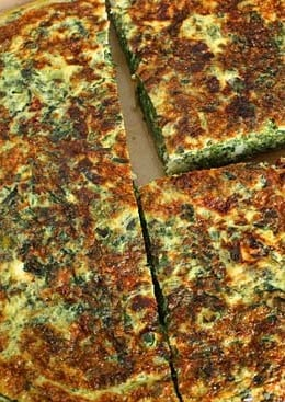 Spinach, scallions, feta and eggs make a fabulous, light breakfast frittata or for a low carb lunch serve this frittata with a Greek salad on the side.