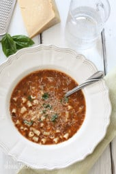 Pasta Fagioli (Pasta and Beans) usually pronounced pasta fazool, is a great tasting, hearty, vegetarian Italian pasta and bean soup, perfect for the cold, super quick and freezer friendly.