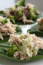 This is an easy, light lunch recipe, or appetizer, using canned tuna with chopped red onion and a little red wine vinegar and added broccoli and celery, served on spinach leaves.