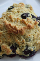 Fresh, warm, blueberry scones make a perfect Sunday morning breakfast along with a cup of hot tea. Blueberries are considered a super fruit and are rich in antioxidants.