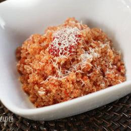 Combining cooked quinoa and some leftover homemade sauce like filetto di pomodoro you can make a quick, easy quinoa risotto in minutes.