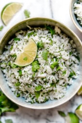 I am a huge fan of the rice at Chipotle's. Here is my copycat version for their cilantro lime rice, it tastes just like the real thing! Of course, I used less oil. Makes a wonderful side dish for chicken, beef or pork.