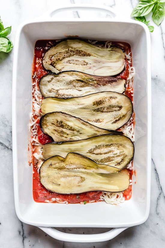 This Lighter Eggplant Parmesan is one of my favorite ways to eat eggplant. No breading, just eggplant, cheese and marinara.