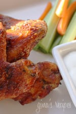 These homemade skinny baked buffalo wings aren't even fried and will be the hit at your next party! Also great for a quick dinner!