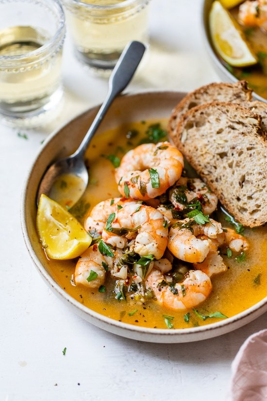 Drunken Shrimp with bread