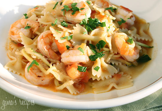Shrimp and Zucchini with Bowties in Light Tomato Sauce ...