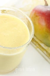 Mango Lassi is a healthy, sweet Indian fro yo smoothie made with fresh mango, greek yogurt and milk. I used fat free yogurt and milk to keep it light.