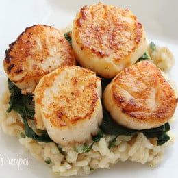 This is an elegant dish, perfect for a special occasion. Sea scallops were on sale, so that's special enough for me! You can easily double this recipe.