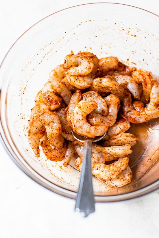 Seasoned shrimp for spicy fried rice.