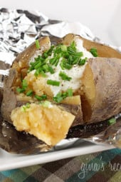 "Crock Pot ""Baked"" Potatoes – This perfect way to make baked potatoes on a hot summer day without heating up the house."