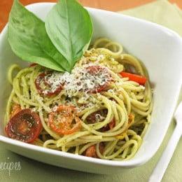 spaghetti-with-pesto-tomatoes