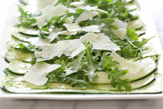 This light 5-ingredient zucchini carpaccio salad is this perfect summer side dish. You can serve this as an appetizer, side dish or even as a light lunch for 2.