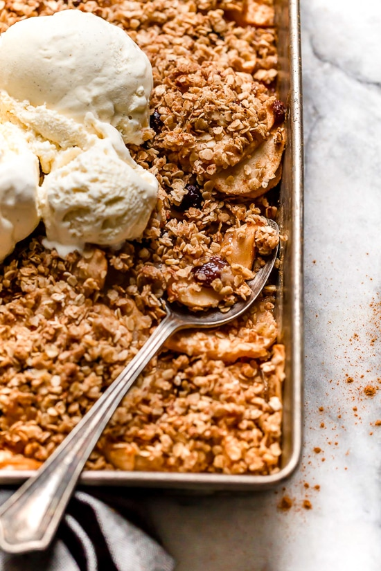 This Cinnamon Apple Crisp is perfect for fall, lightly sweetened with raisins and honey with a crisp, oat topping.