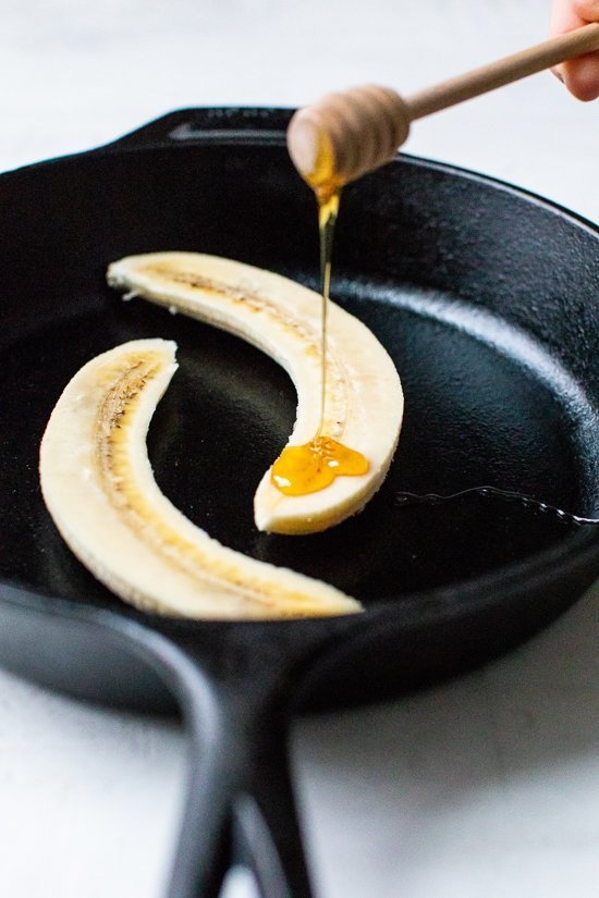 honey drizzled on bananas