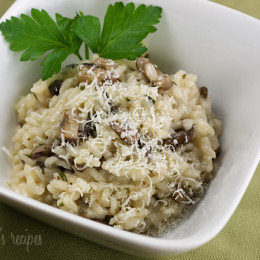 Risotto is a creamy Italian rice dish usually made with Arborio rice. It can be a little time consuming but it's worth it. This is a dish that will impress guests. I used Baby Bella mushrooms, but you can use crimini, portobello, porcini or a combination of all three.