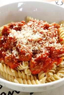 Turkey Sausage and Tomato Sauce over Pasta
