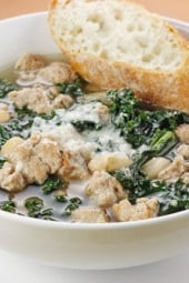 This hearty turkey sausage, kale and white bean soup is loaded with fiber and is a very satisfying meal on a chilly evening. Top this with some good grated cheese like Parmigiano Reggianno or Locatelli (I always splurge on grated cheese) and a nice piece of crusty bread for a wonderful meal for 4 under $10.