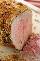 The combination of sour cream, horseradish, herbs, garlic and breadcrumbs make this a fabulous roast. Simple enough to make as a weeknight dinner served with vegetables or elegant enough to serve for a special occasion.