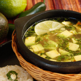 Avocados, chicken, scallions and cilantro in a light broth with a touch of lime. If you are an avocado lover like me, you'll love this soup.