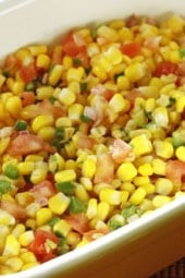 Corn, lime, cilantro and tomatoes are great with chips or over your favorite tacos!
