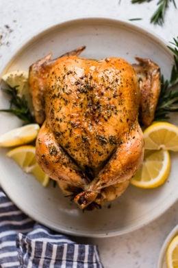Juicy, tender roasted chicken seasoned with lemon and rosemary, always a winner in my house!