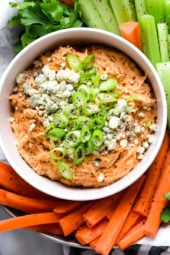 This Slow Cooker Buffalo Chicken Dip has everything you love about buffalo wings, only made into a dip – the perfect party appetizer, no messy hands!
