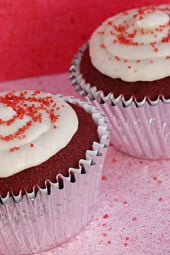 Red Velvet Cake is my weakness and I can't think of a better cake to eat on Valentine's Day. Topped with low fat cream cheese frosting you wouldn't even know these are light.