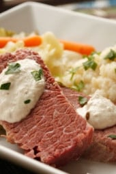 What's St. Patrick's Day without Corned Beef and Cabbage! A simple way to prepare this classic Irish dish. Top it with horseradish cream or mustard and serve it with a side of creamy cauliflower puree as a low carb alternative to potatoes.