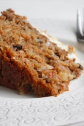 Here's a super moist, low fat carrot cake recipe perfect for Easter or anytime of the year. This is made with a can of crushed pineapple which makes it very moist.