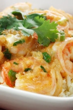 A plate of coconut shrimp curry