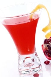 Pomegranate Martinis are the new black. Cosmos are so last year! If you are looking to try a new skinny cocktail that is dee-licious and fun to serve at a party, give this a shot (no pun intended)! But be careful... one is never enough!