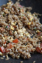 This brown fried rice is a great side dish for stir fries and Asian inspired dishes. I love to make my fried rice Thai style which uses fish sauce, but if you don't have that you could leave it out and increase the soy sauce. This is a perfect compliment to Asian Turkey Meatballs. Double the recipe for more people.