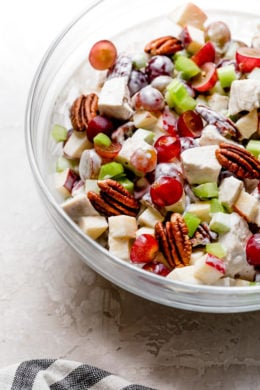 Chicken Waldorf Salad is a classic salad made with apples, grapes, pecans and celery in a light, creamy dressing.