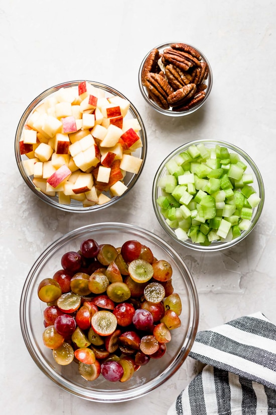 Chopped apples, grapes, pecans and celery.